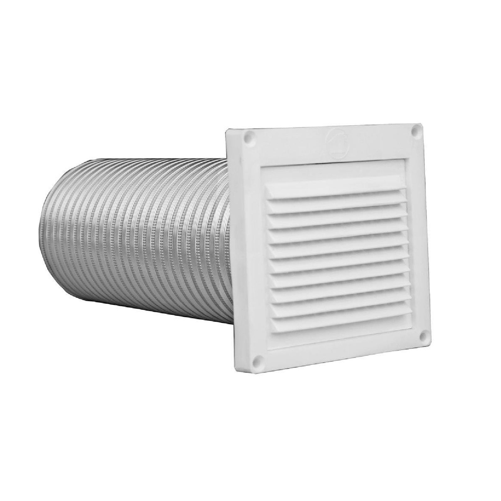 "Builder's Best 111249 - Plastic Mini Louver, 4"" White/3' Aluminum Semi Rigid"
