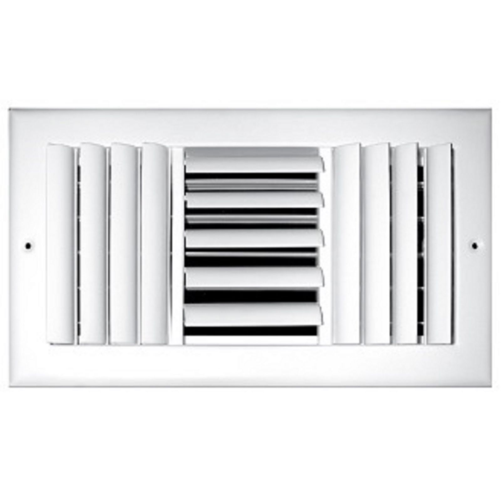 "TRUaire 303M 10X10 - Steel Adjustable Curved Blade Wall/Ceiling Register With Multi Shutter Damper, 3-Way, White, 10"" X 10"""