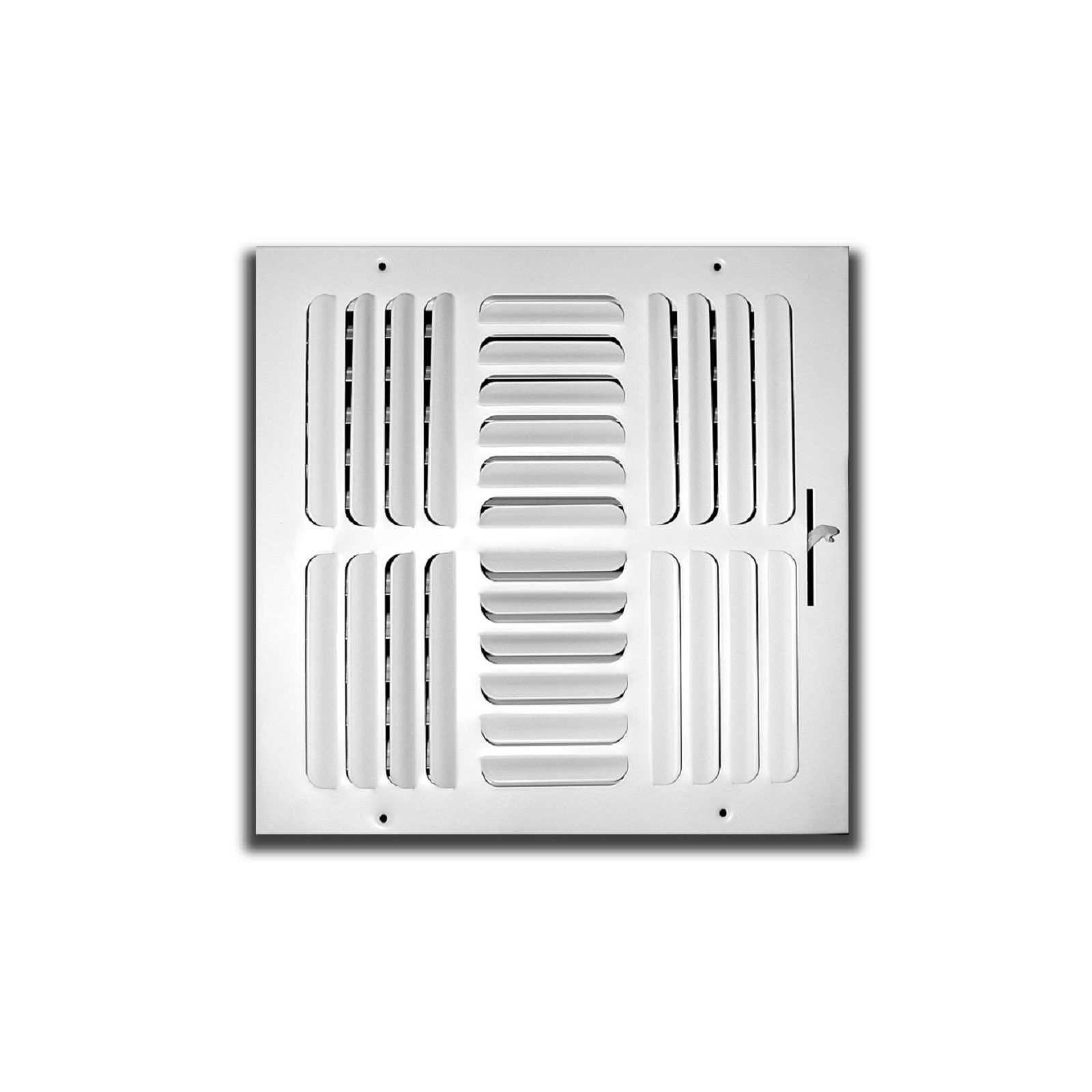 "TRUaire 404M 14X14 - Fixed Curved Blade Wall/Ceiling Register With Multi Shutter Damper, 4-Way, White, 14"" X 14"""