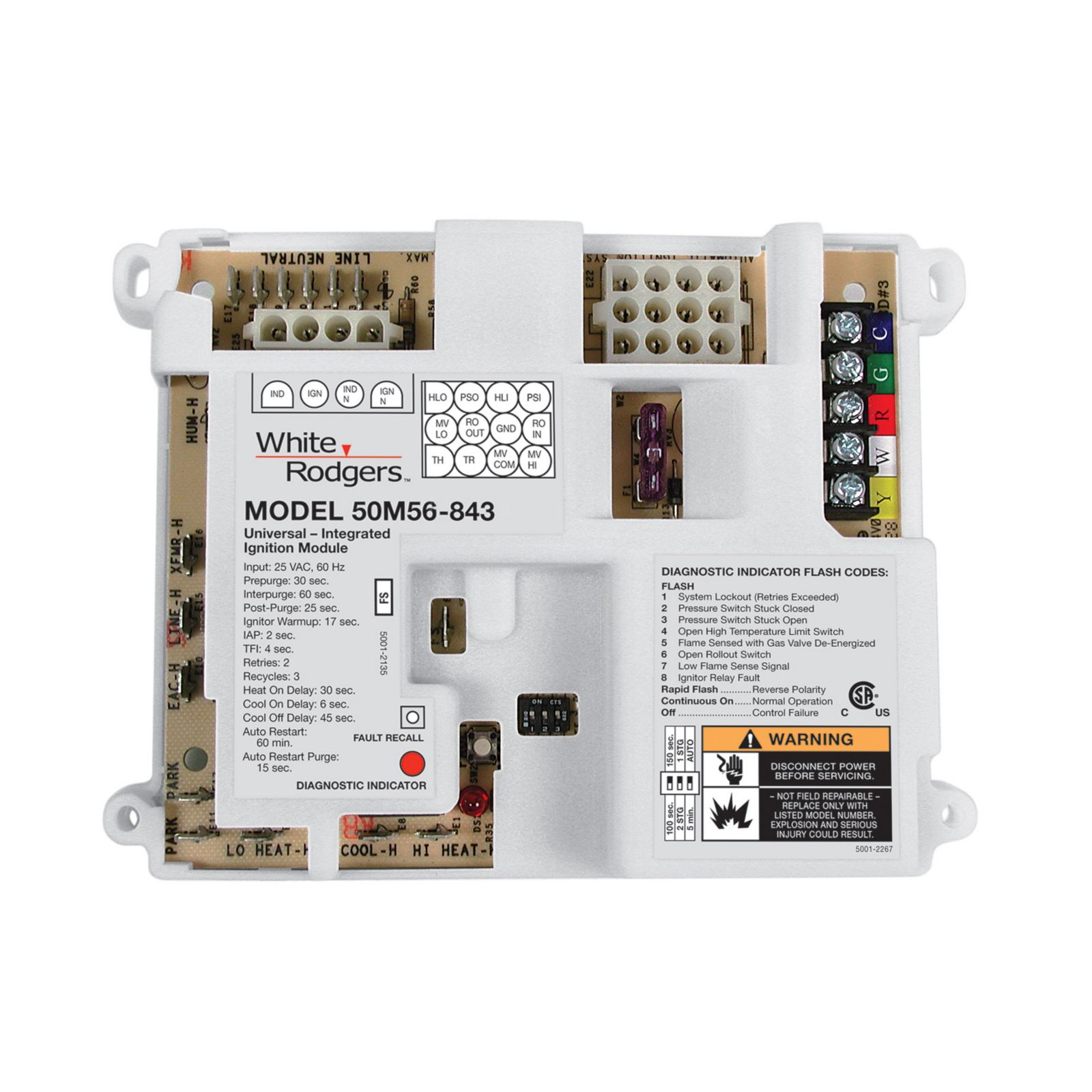 White-Rodgers 50M56U-843 - White-Rogers Universal Single Stage HSI Integrated Furnace Control Kit