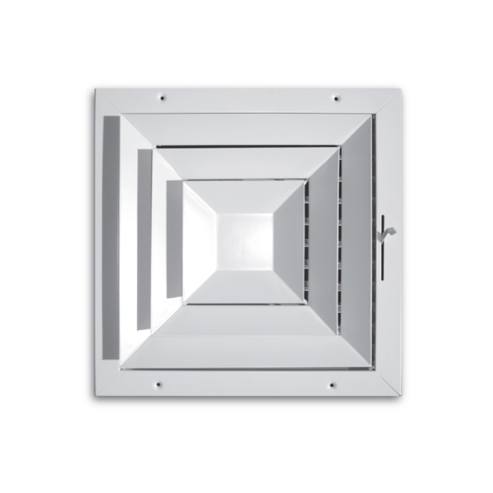 "TRUaire 560M 10X10 - High Capacity Step-Down Square Ceiling Directional Diffuser, White, 10"" X 10"""