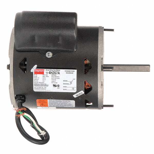 DAYTON 1/3 HP Direct Drive Blower Motor, Permanent Split Capacitor, 1650 Nameplate RPM, 115 Voltage