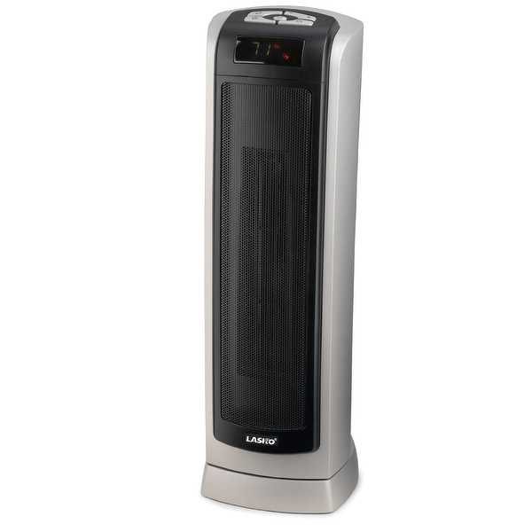 Lasko 5521 23 In. Ceramic Tower Heater with Remote Control - Silver/Black - gray