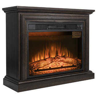 Golden Vantage 32' Electric Fireplace Freestanding Brown Wood Mantel Heater 3D Red Flame Logs