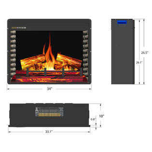 AKDY 33' Electric Fireplace Freestanding Insert Firebox Orange 3D Flame w/ Logs Heater & Remote Control